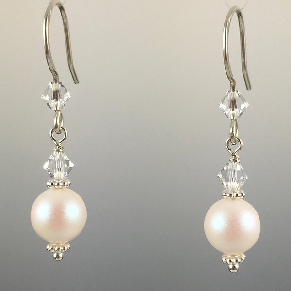 Pearlescent White Swarovski Crystal Pearls & Swarovski Crystal Simple Drop Earrings - 8mm - Steven James Jewelry
