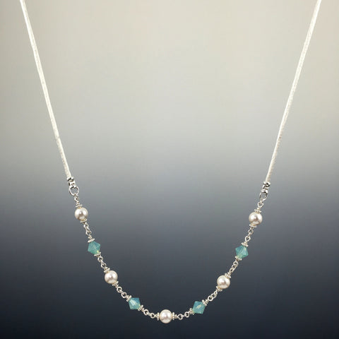 Swarovski Crystal & Sterling Silver Simple Chain Link Necklace - Steven James Jewelry