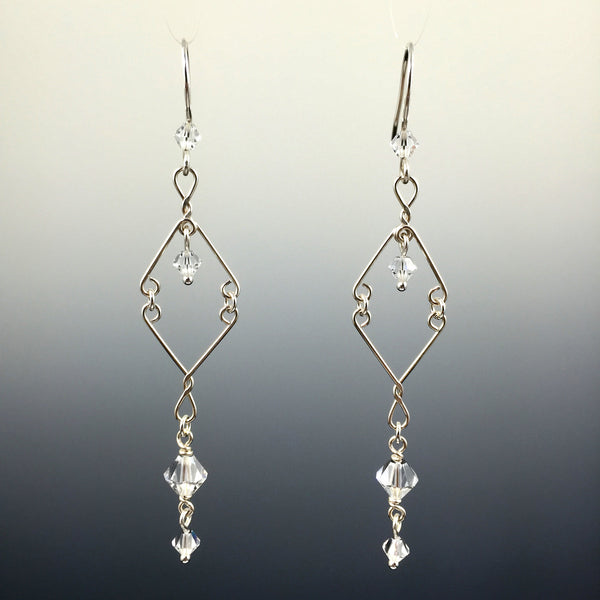 Swarovski Crystal & Sterling Silver Sleek Chandelier Earrings - Steven James Jewelry