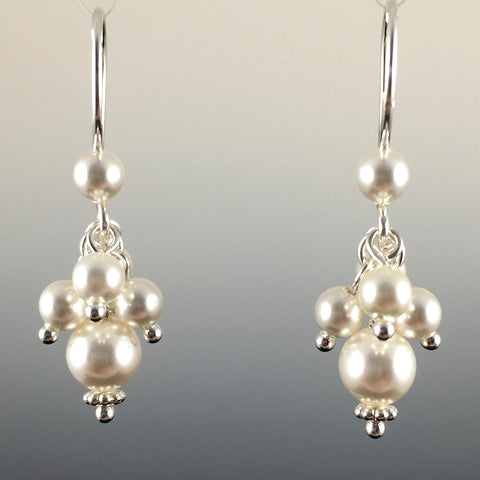 Swarovski Crystal Pearl Short Cluster Earrings - Steven James Jewelry