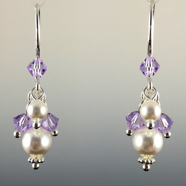 Custom Swarovski Crystal & Sterling Silver Short Cluster Earrings - Steven James Jewelry