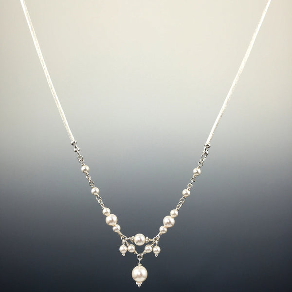 Swarovski Crystal & Sterling Silver Chain Link Necklace with Center Drop, Dangles & Satin Cord - Steven James Jewelry