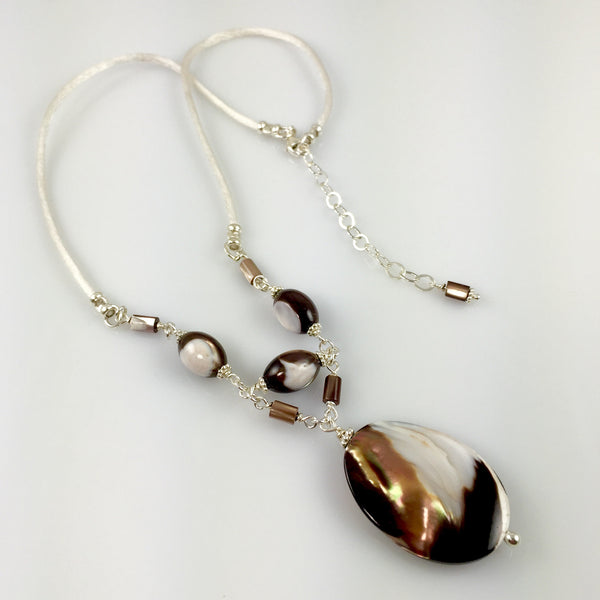Mother of Pearl & Sterling Silver Chain Link Necklace - Steven James Jewelry