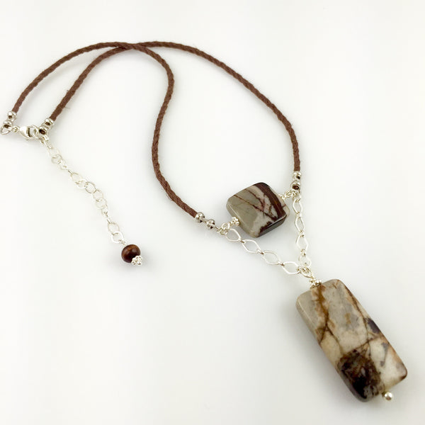 Wood Jasper & Sterling Silver Necklace - Steven James Jewelry