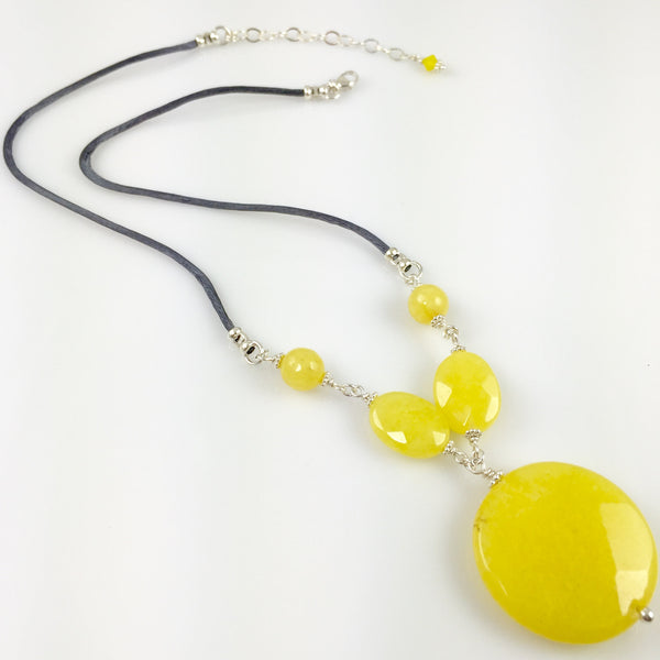 Yellow Jade & Sterling Silver Necklace - Steven James Jewelry