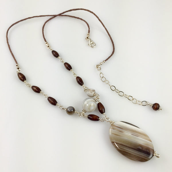 Botswana Agate, Wood & Sterling Silver Necklace - Steven James Jewelry