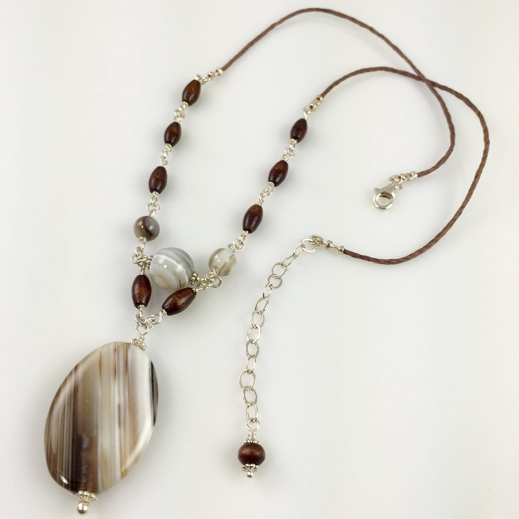 Botswana Agate .925 Silver Necklace