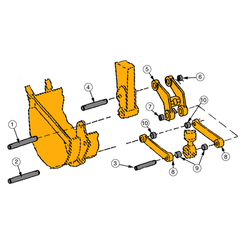 Backhoe Bucket Links, Pins, & Bushings