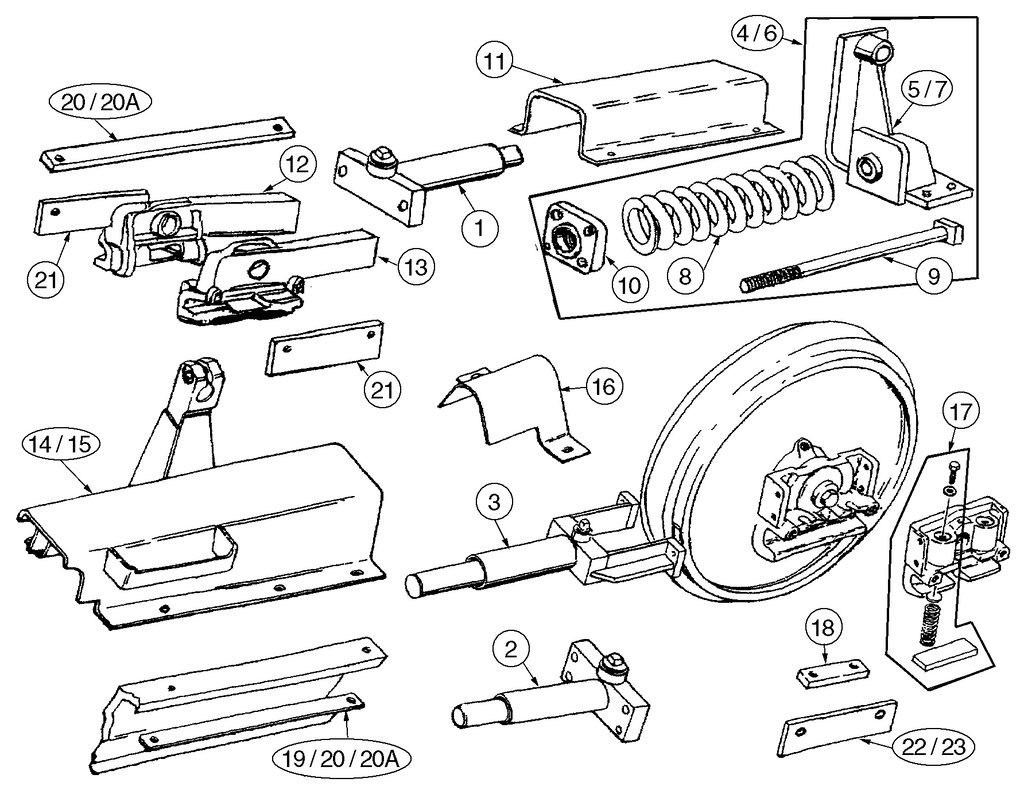 Case 450B, 450C, 455B, 455C Track Adjuster Parts