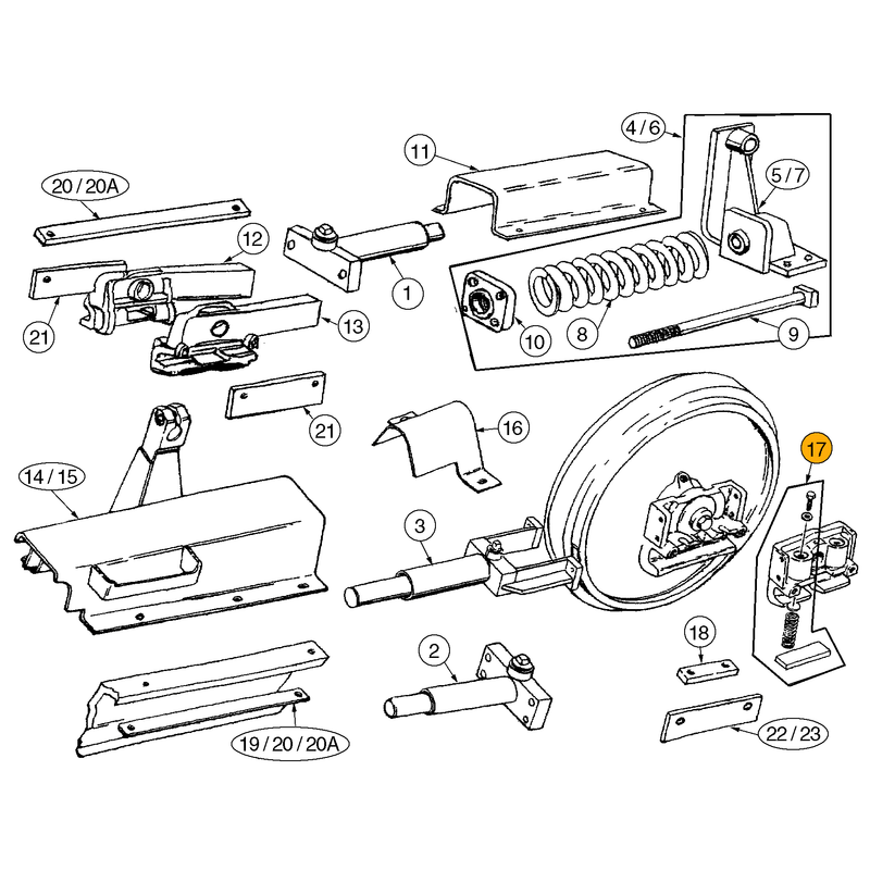 Case 750H, 850H Idler Wear Kit - 17 | HW Part Store