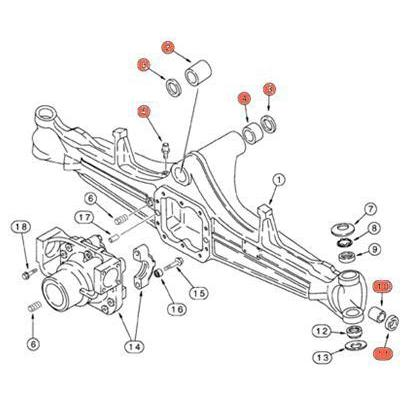 Case 580L, 580SL, 580M, 580SM 4WD Front Axle Parts Kit