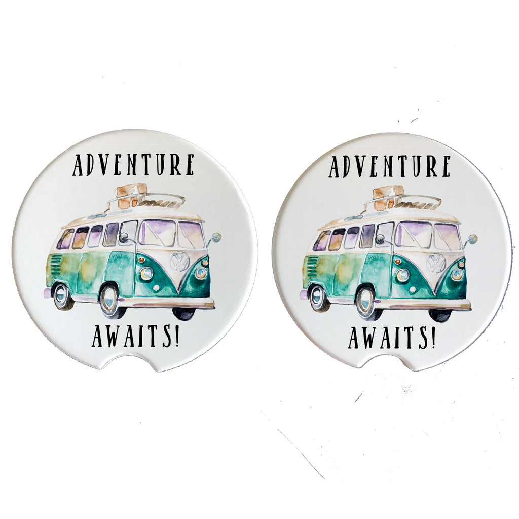Adventure Awaits! Round Sandstone Car Coasters Available in One Coaster or a Set of 2