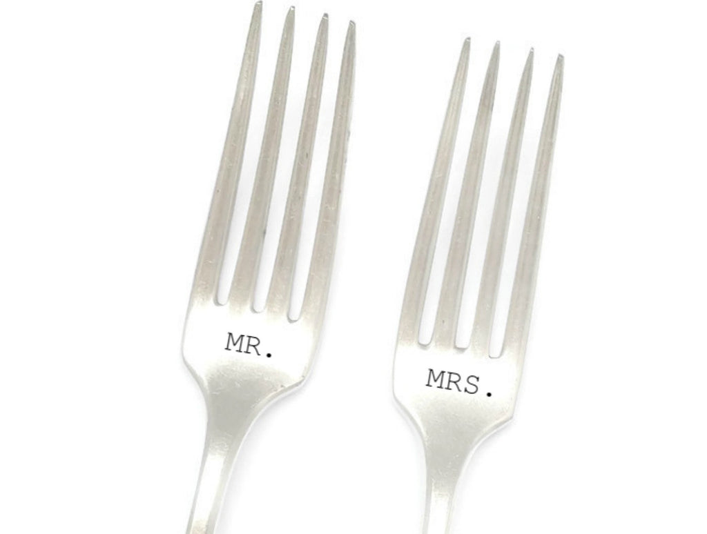 Mr. and Mrs. Hand Stamped Fork Set.