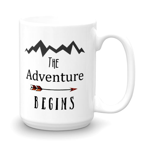 Personalized Grad Mug The Adventure Awaits. First Name and Class of 2017 on the Back.