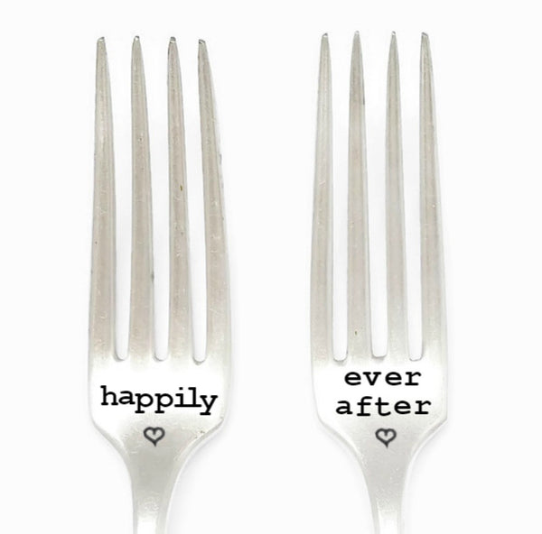 Happily Ever After. Hand Stamped Vintage Fork Set.