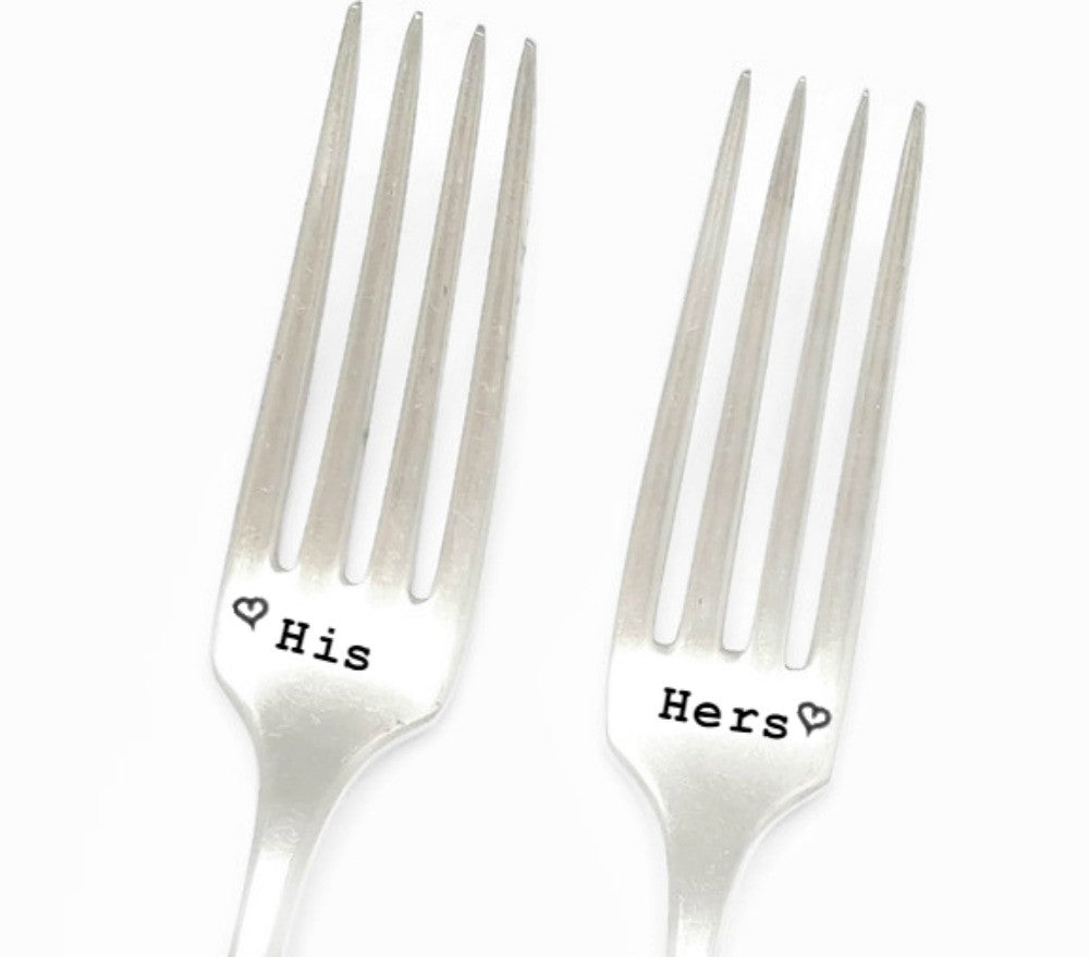 His and Hers Hand Stamped Cake Forks.