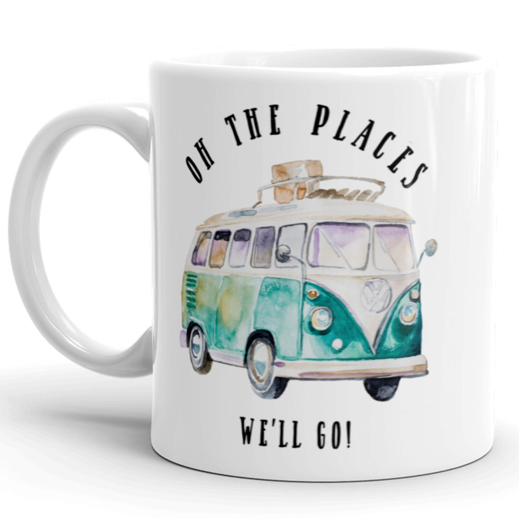 Oh The Places We'll Go! Kowabunga Van Coffee Mug With Blue VW Bus Graphic