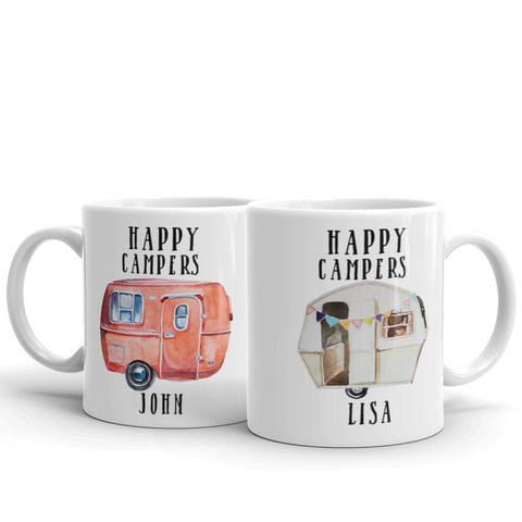 Happy Campers Personalized Coffee Mugs, Set of Two, His and Hers