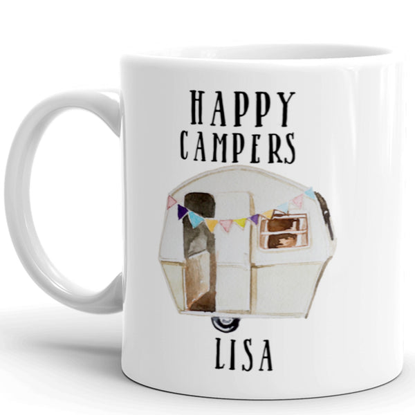 Happy Campers Coffee Mugs, 11 oz. Set of Two