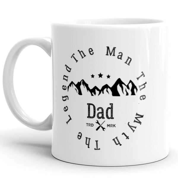 Custom Fathers Day Coffee Mug with Vintage Mountain Logo Makes the perfect Gift for your dad.  The Man, The Myth, The Legend!