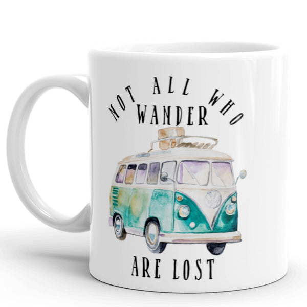 Not All Who Wander Are Lost Coffee Mug with Blue VW Vintage Bus