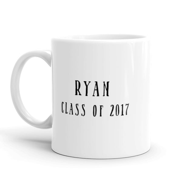 Grad Mug The Adulting Begins Personalized with First Name and Grad Year on the Back