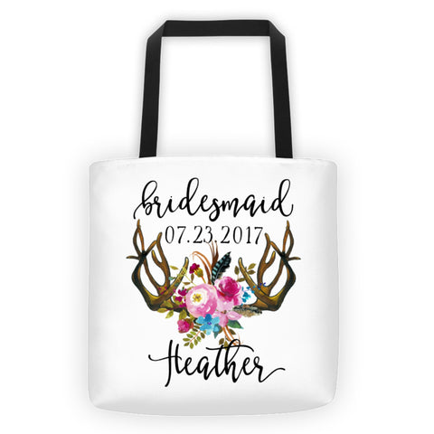 Personalized Bridesmaid Tote Bag with Black Handle, Floral Antlers