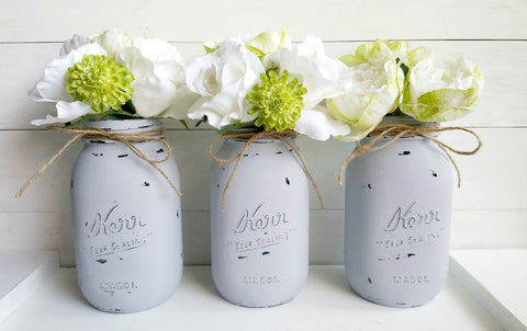 Grey Painted Mason Jars. Set of Three.  Quart Size. Regular Mouth.