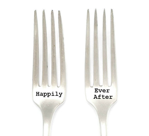 Happily Ever After Hand Stamped Wedding Forks.