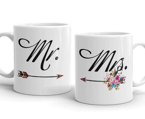 Mr. and Mrs. Coffee Mug Set with Floral Arrows