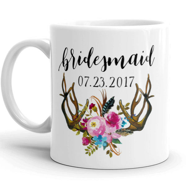 Personalized Bridesmaid Coffee Mug with Antlers and Flowers