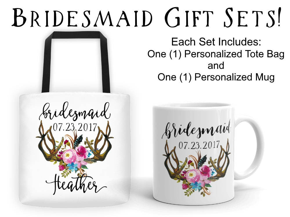 Personalized Bridesmaid Gift Set, Canvas Tote Bag and Coffee Mug with Antlers and Flowers