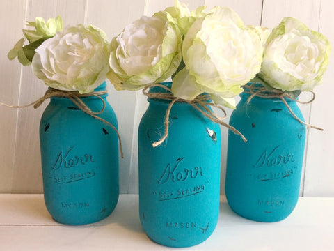 Blue Painted Mason Jars.  Set of Three.  Quart Size, Regular Mouth.