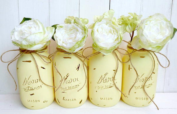 Yellow Painted Mason Jars, Set Of Four. Quart Size.