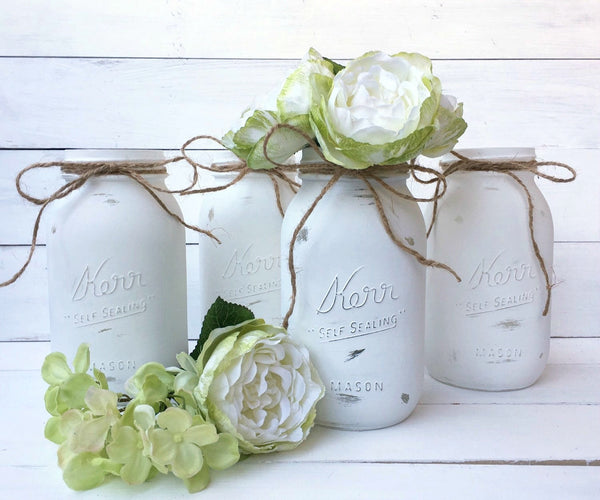 White Painted Mason Jars, Set of Four.  Quart Size.