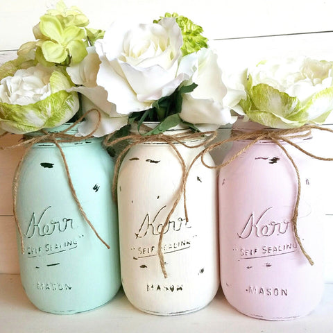 Painted Mason Jars. Set of Three.  Aqua, Light Pink and Ivory. Mason Jar Gifts.