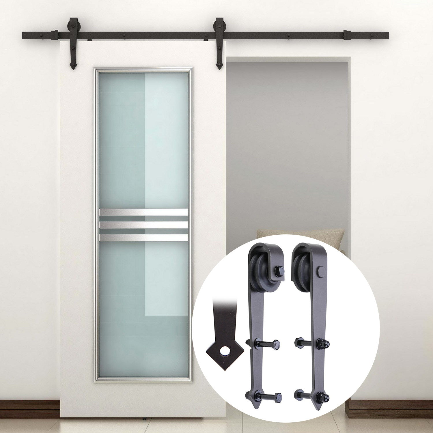 Superieur GOSO Sliding Barn Door Hardware Kit 6.6 Ft (2 M) Solid Steel Decorative  Rail And Roller, Arrow