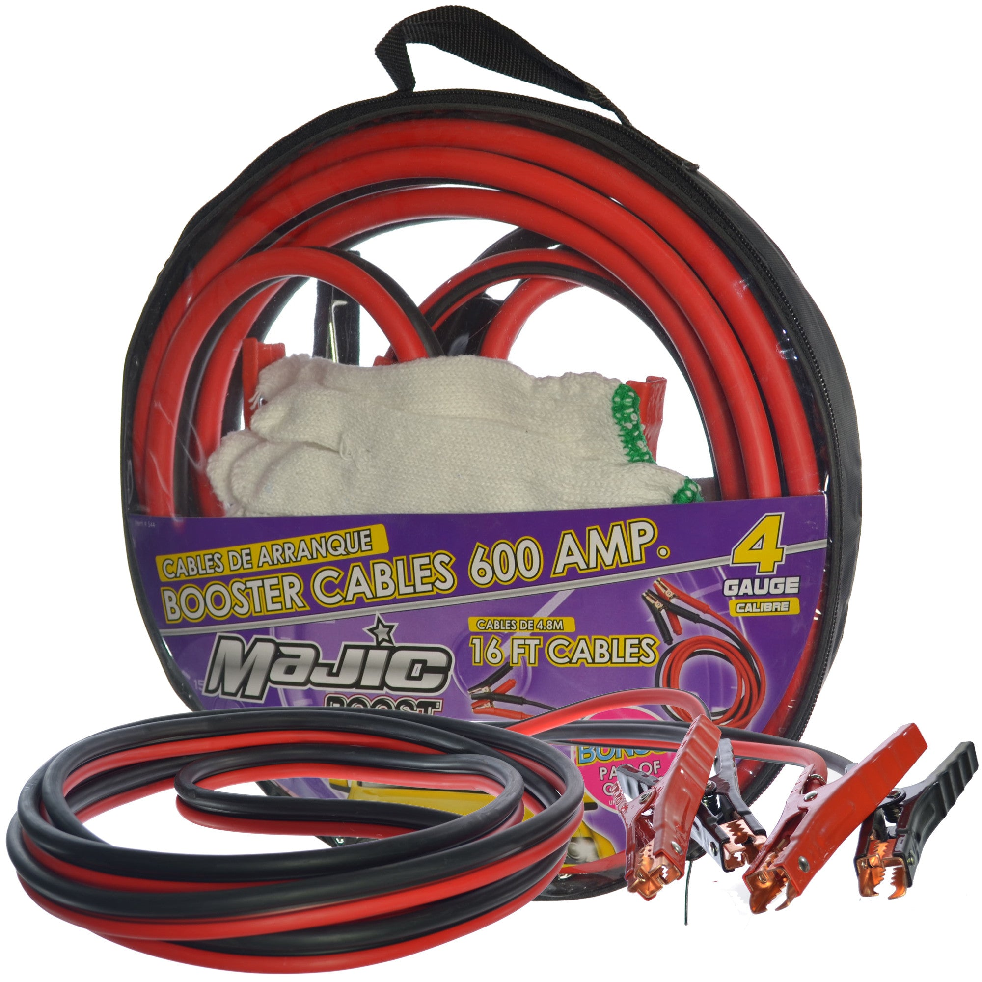 Majic 600 AMP Power Booster Cables 4 Gauge Heavy Duty 16 Feet Long ...