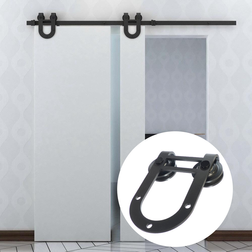 GOSO Sliding Barn Door Hardware Kit 6.6 Ft (2 M), Horseshoe Design