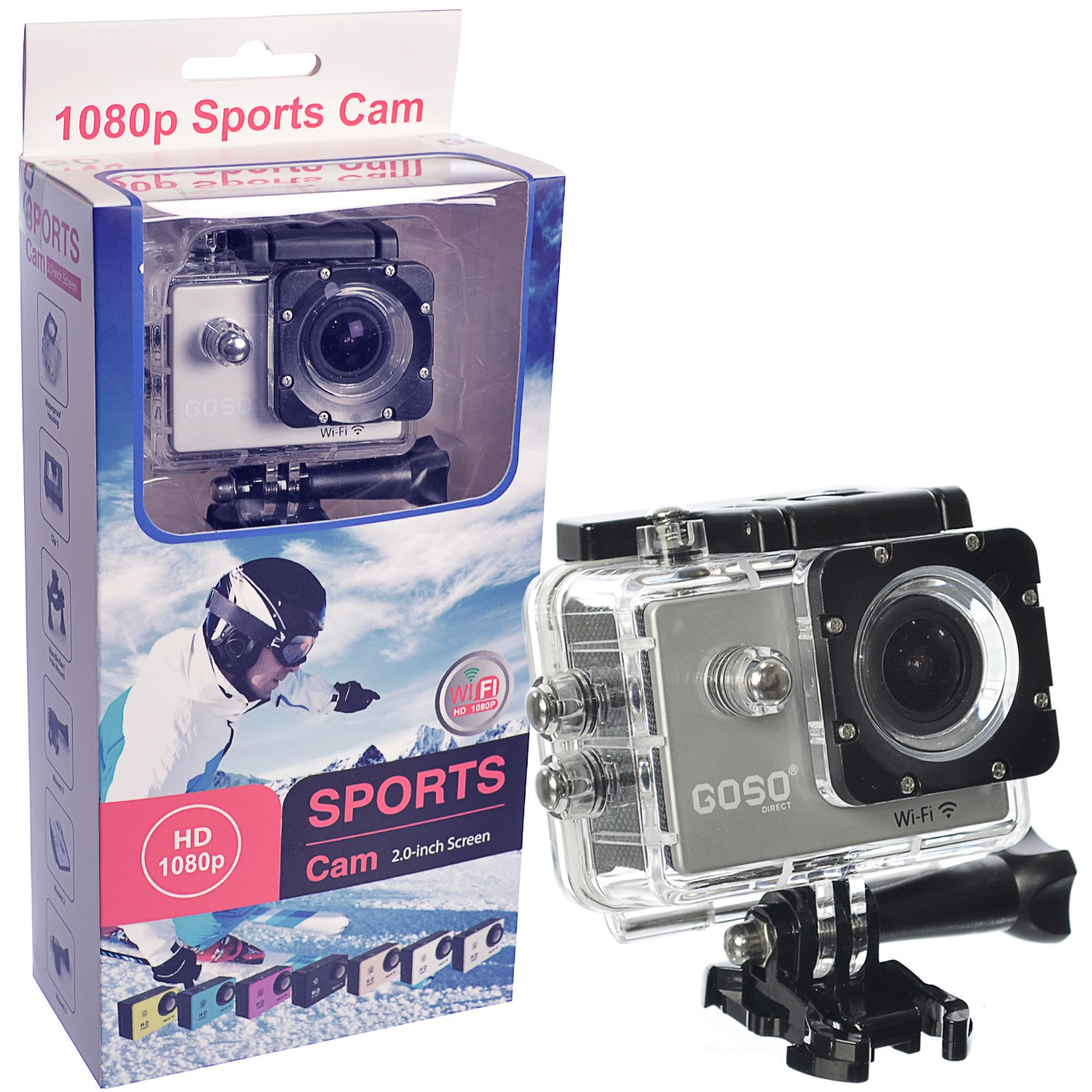 goso waterproof sports action camera with accessories wide. Black Bedroom Furniture Sets. Home Design Ideas