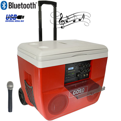 GOSO Cooler Stereo and Karaoke Set Loud Speaker System will Play Music from Bluetooth, SD Card and USB, 52 quart