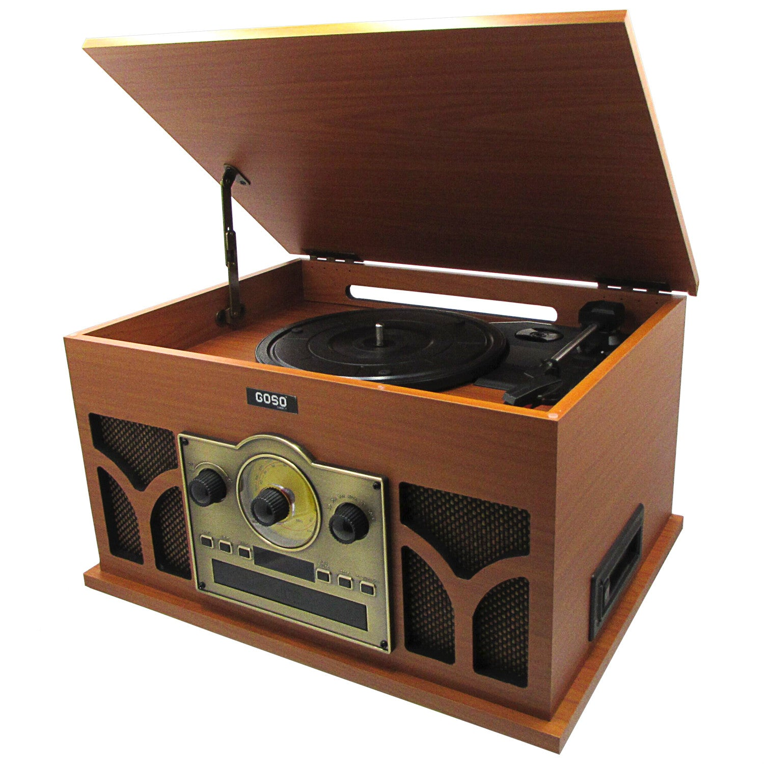 Great GOSO Turntable With Bluetooth 6 In 1 Nostalgic Retro Media Vinyl Record  Player Entertainment Center