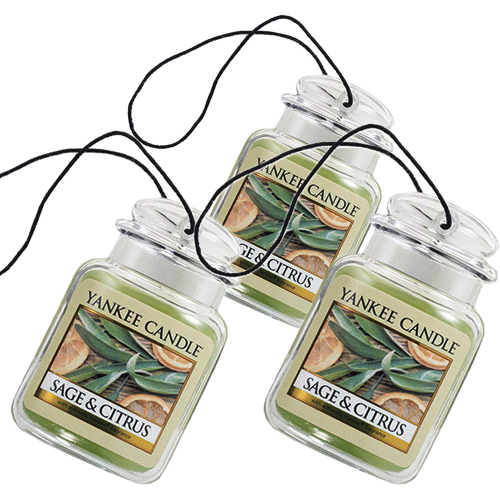 Yankee Candle Car Jar Ultimate Auto & Home Odor Neutralizing Air Freshener  Sage & Citrus (Pack of 3)