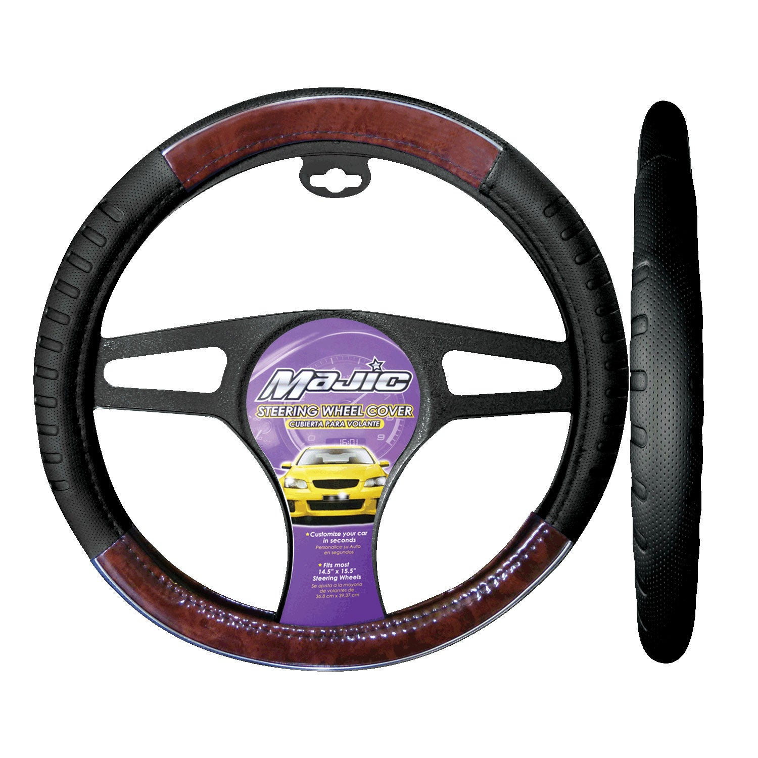 majic car steering wheel cover wood grain with chrome accent design improves comfort and style. Black Bedroom Furniture Sets. Home Design Ideas