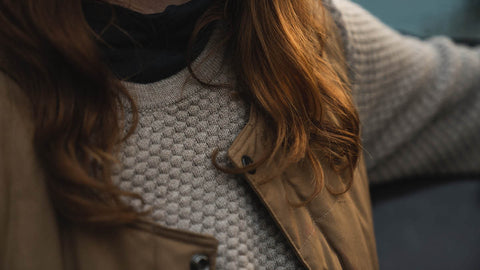 Alt-Text: Woman-Wearing-Merino-Wool-Sweater-And-Wool-Shirt-And-Organic-Cotton-Vest