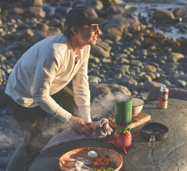 David Furlonger forages and cooks for ecologyst food film on vancouver island