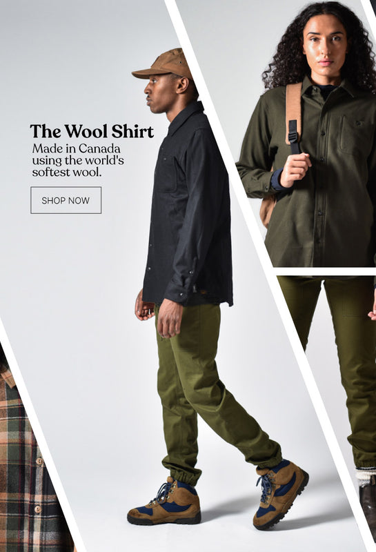ecologyst outdoor luxury clothing brand made in canada wool shirt
