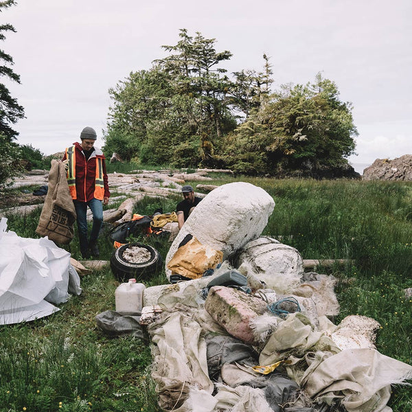 Beach cleaning ocean plastics in Clayoquot Sound