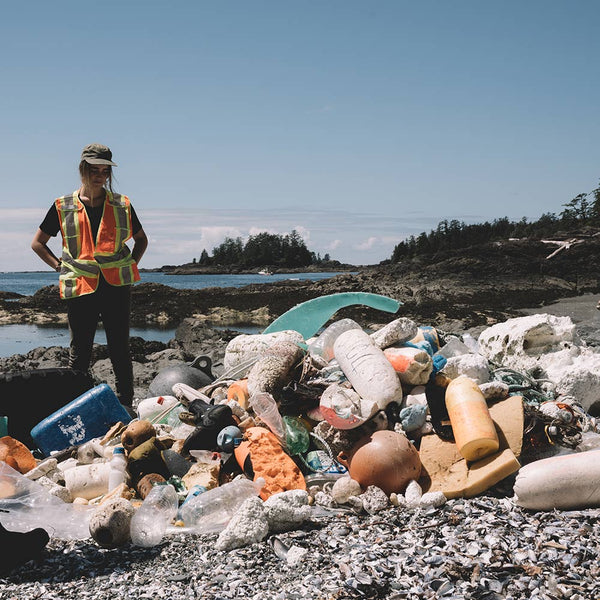 A pile of collected ocean plastics in the Clayoquot Sound