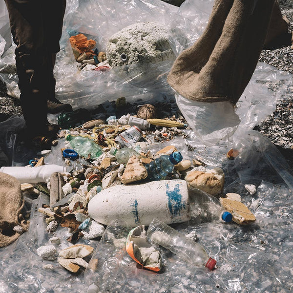 A pile of ocean plastic on one of British Columbia's beaches
